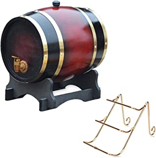 Baril à Vin 15L, Seau de Rangement en Chêne avec Robinet et Porte-bouteilles, Approprié pour Conserver Miel, Bière, Whisk...