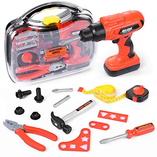 Elitoky Kids Tool Box Set - 16 PCS Pretend Play Tool Toys for Toddler, Kids Electric Power Drill Toy Construction Tool Kit Accessories Gift for Girls Boys Ages 3 , 4, 5, 6, 7 Years Old