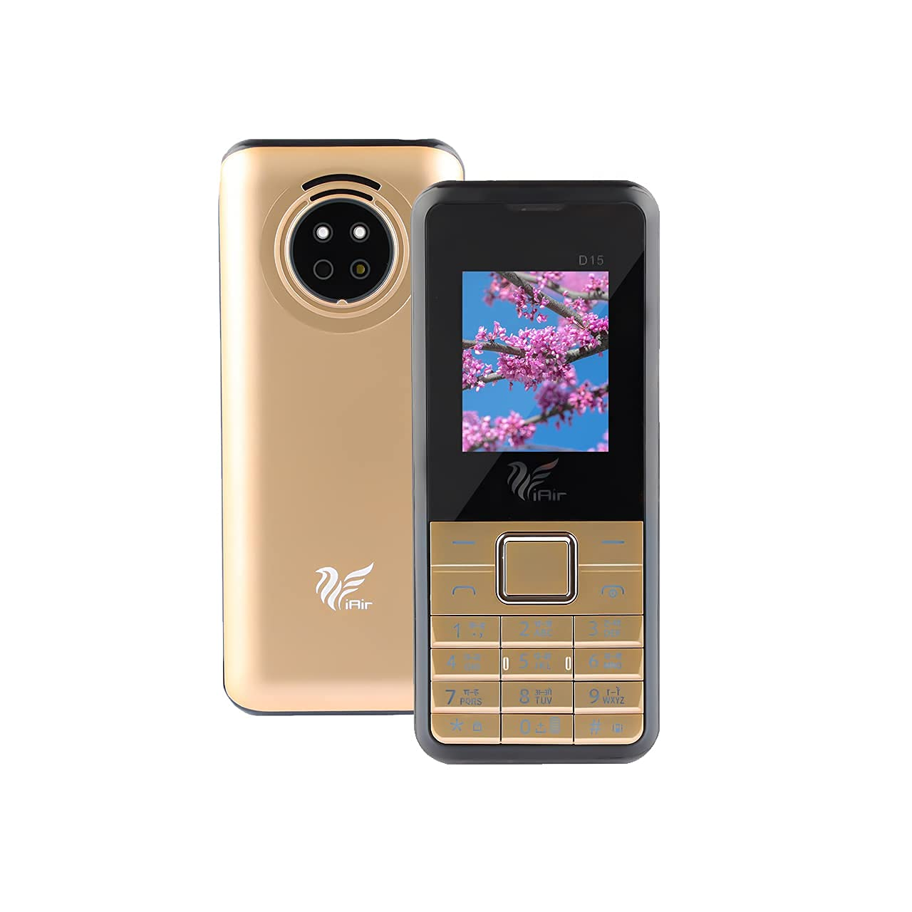 IAIR Basic Feature Dual Sim Mobile Phone with 2800mAh Battery, 1.77 inch Display Screen, 0.8 mp Camera with Glossy Finish (D15, Gold)