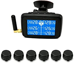 Tire Pressure Monitoring System Wireless TPMS,Tire Pressure Monitoring System Car,Bus,RV, Truck,Real Time Monitor Temperature Air Leakage Battery Alarm Chargeable Large LCD with 6 Sensors