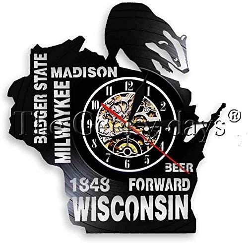 zgfeng Arte de Pared de Estado Malo Milwaukee Madison Beer Forward Wisconsin Reloj de Registro Iluminación LED Hombre Cueva Bar Reloj de Pared