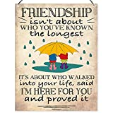 Dorothy Spring Gift Friendship Isn't About Who You've Known The Longest Saying Wall Metal Sign & Plaque with Message for Friend, Wife, Women, Bestie Present Wall Decoration, Ornament, Keepsake 15x20cm