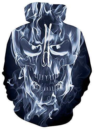 SunFocus Sudadera con Capucha para Hombre Estampado 3D Flame Skull Gra