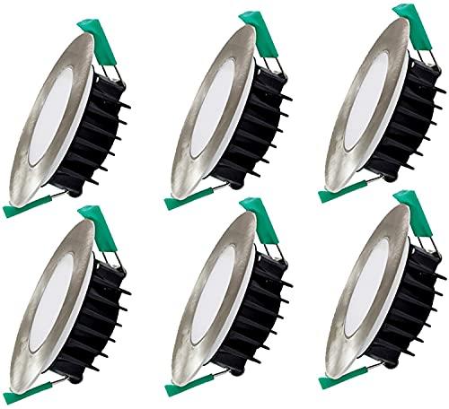 PJDOOJAE 6 paquetes IP44 Para el cuarto de baño Downlight Spotlight Panel Light DIRIGIÓ Luces de techo empotradas Ultra Slim 8W regulable DIRIGIÓ Downlights, lámpara de techo redonda 70 0LM, Cortar Φ7