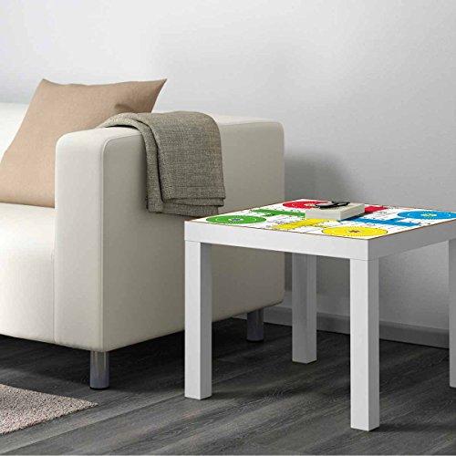 Mesa IKEA Lack Personalizada Juego Parchis clásico Vinilo Auto Adhesivo | Medidas 0,55 m x 0,55 m x 0,77 m | Vinilo Personalizado | Mesa | Pegatina Decorativa de Diseño Elegante