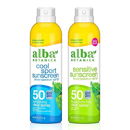 Alba Botanica Cool SPF 50 Sport & Sensitive Fragrane Free, Sunscreen Aerosol Clear Spray, 6 Ounce (Pack of 2)