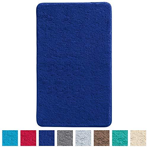 Erwin Müller Badematte, Badteppich, Badvorleger Uni rutschhemmend Royalblau Größe 60x100 cm - ultraweich, extrem saugfähig, flusenarm (weitere Farben, Größen)