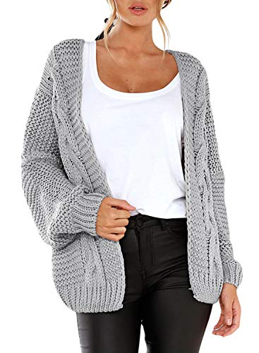 Aleumdr Strickjacke Damen Grobstrick Strickmantel Strickcardigan Damen Herbst Winter Casual Open Front Sweater Cardigan Cover up Patchwork Outwear S-XXL, Grau, Small(EU34-36)
