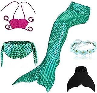3 Pcs Mermaid Swimming Suit Plus Fin for Swimming Mermaid Bathing Suits Swimsuit Bikini Set(With Garland)