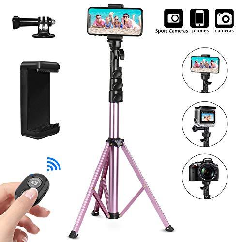 PEYOU - Treppiede per selfie, Bluetooth, 135 cm/54 pollici, rotazione a 360°, telecomando wireless Bluetooth per iPhone X XS XR 8 7 6s Huawei Samsung Gopro, colore: oro rosa