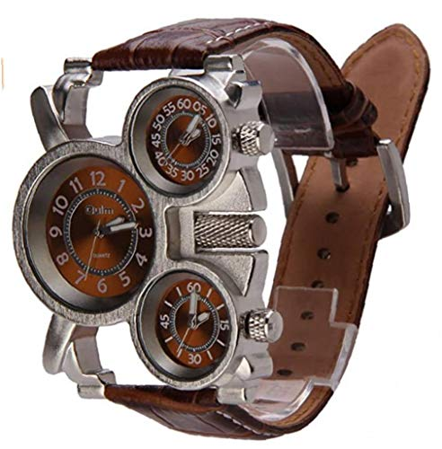 IUwnHceE Multifuncionales Reloj de los Hombres Tres diales analógicos Manos Luminosas y Cuero cómodo de la Correa de Reloj de Cuarzo Diseño Hombres de Negocios Simple Brown