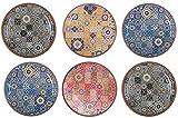Melange 6-Piece 100% Melamine Dinner Plate Set (Moroccan Tiles)   Shatter-Proof and Chip-Resistant Melamine Dinner Plates   Color: Multicolor