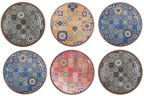 Melange 6-Piece 100% Melamine Dinner Plate Set (Moroccan Tiles) | Shatter-Proof and Chip-Resistant Melamine Dinner Plates | Color: Multicolor