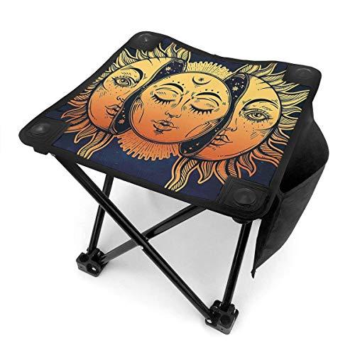 End Nazi Tabouret de Camping chaises Pliantes Moon Sun siège de Chaise Portable Bleu foncé doré