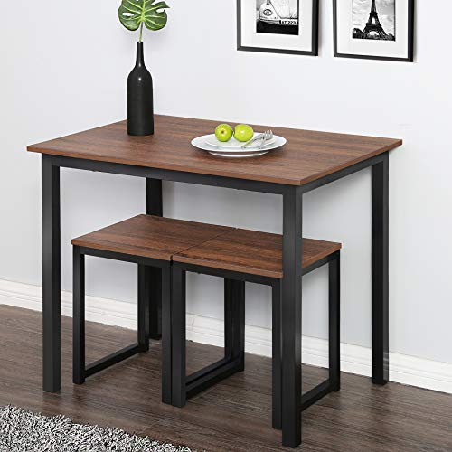Homury 3 Piece Dining Set Small Dining Table Set for 2 Kitchen Breakfast Table Set,Brown