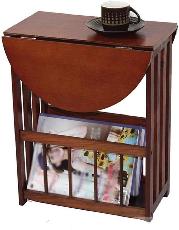 JHGF Mesa Lateral/Lateral de Mesa dobrável com prateleira de armazenamento, Estante de livros de Madeira Mesa para revistas Mesa de Centro