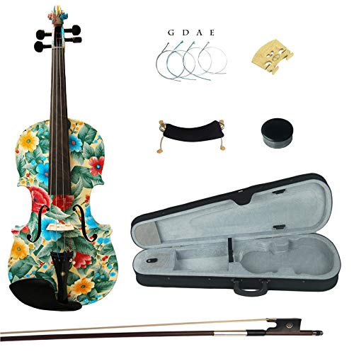 Kinglos 4/4 Blue Red Flower Colored Ebony Fitted Solid Wood Violin Kit with Case, Shoulder Rest, Bow, Rosin, Extra Bridge and Strings Full Size (LY1102)