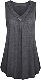 Fitfulvan Women's Swing Tunic Tops Loose Fit Comfy Flattering T-Shirt Solid Button Sleeveless V-Neck Vest Casual Blouse