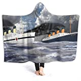 Cupaate Hooded Blanket 3D RMS Titanic and Her Sister The HMHS Britannic Early 20th Century Super Soft Sherpa Fleece Blanket 50'' x40