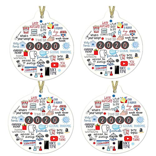 TOSFOGO 2020 A Year to Forget, Remember 2020 Christmas Ornament Quarantine 2020 Events Keepsake(3'' Round/4 Pcs)