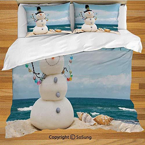 Set copripiumino biancheria da letto pupazzo di neve, tema vacanze natalizie vacanze invernali Pupazzo di neve con conchiglie seduto sulla spiaggia sabbiosa decorativo decorativo set di biancheria da