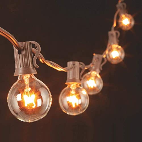 25Ft Outdoor Patio String Lights with 27 Clear Globe G40 Bulbs,UL Certified for Patio Porch Backyard Deck Bistro Gaze...