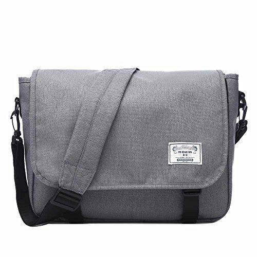 Neuleben Schultertasche Herren Damen Wasserabweisend Leicht Umhängetasche Messenger Bag passt 13.3 Zoll Laptop für Schule Fahrrad Freizeit (Grau)