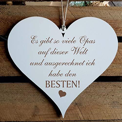 Schild Herz BESTER OPA der Welt ca. 13 x 12 cm - Geschenk mit Spruch