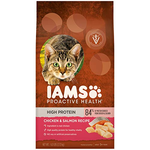IAMS PROACTIVE HEALTH High Protein Adult Dry Cat Food with Chicken & Salmon Cat Kibble, 6 lb. Bag