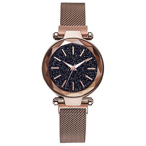 Powzz - Reloj inteligente para mujer, diseño de círculos, color marrón