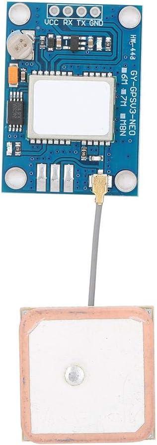 Elprico Módulo GPS, Placa GPS NEO-7M Compatible con Varios módulos de Control de Vuelo con Antena direccional de cerámica