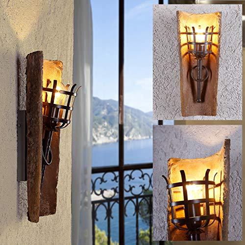 LHG Wandleuchte E27 Wandfackel, Wandlampe max.60W, Dachziegelleuchte mediterran antik, Leuchte mit Klosterziegel, Fackelleuchte für die Wand