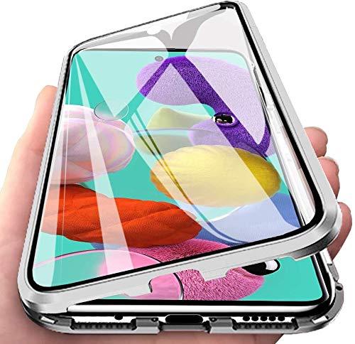 ZHXMALL 360°Protezione Cover per Samsung Galaxy Note 10 Lite, Adsorbimento Magnetica [Anteriore +Posteriore] Metallo 2-in-1 Telaio con Vetro Temperato Proteggi Completa Custodia - Argento