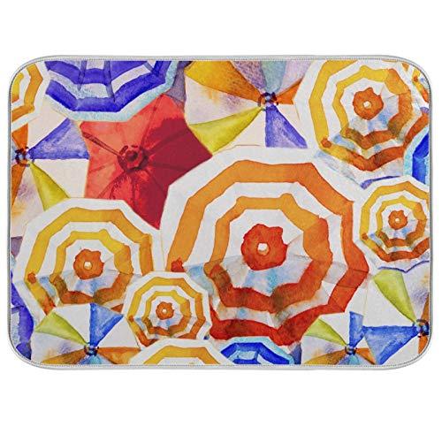 JinDoDo - Alfombrilla de secado para cocina, diseño de paraguas, multicolor de acuarela, para encimera de cocina (40,6 x 45,7 cm)