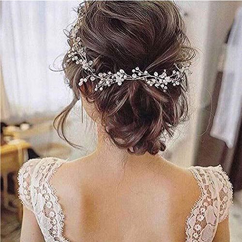 Unicra Braut Hochzeit Perle Haar Reben Kristall Babys Atem Kopfschmuck Hochzeit Haarschmuck für Frauen und Mädchen (Silver)