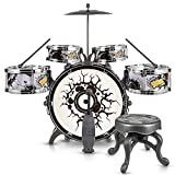 MTS Childs Kids My First Drum Kit Play Set Drums Musical Toy With Pedal & Stool