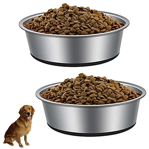 IWILCS 2 Pezzi Ciotole Per Cani in Acciaio Inossidabile, 22cm Ciotola Per Cani Con Base in Gomma Antiscivolo, per cibo o acqua, perfetta per animali domestici, per cani di taglia media