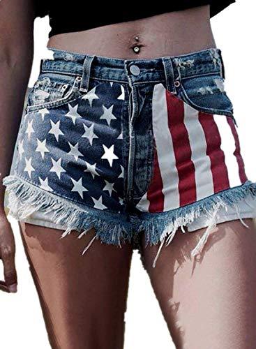 CORAFRITZ Pantalones cortos de mezclilla de verano con estampado de estrellas y rayas para mujer