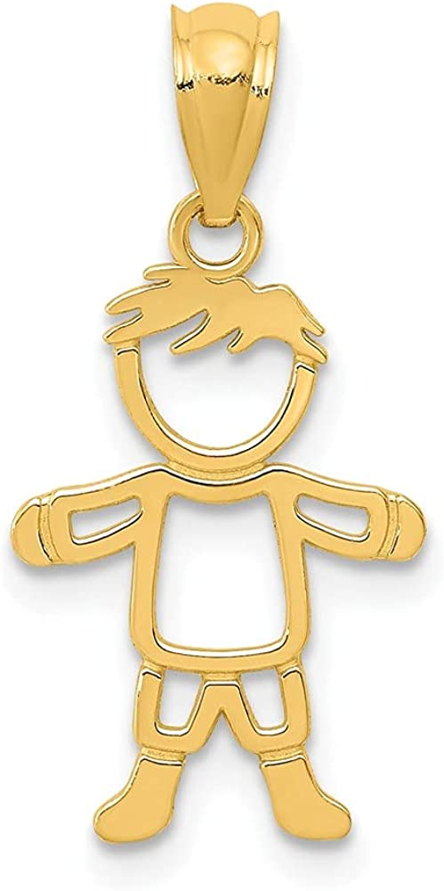 14k Yellow Gold Cut Out Boy Pendant Charm Necklace Baby Fine Jewelry For Women Gifts For Her