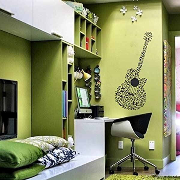 SCOOPTOUR WALL ART Guitar Music Wall Decal Musical Notes Sticker For Bedroom Dormitory Decoration Large Black