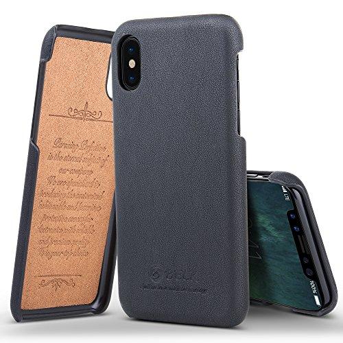 Belk iPhone X Custodia e Cover, Custodia Protettiva in Acciaio Inossidabile Premium Custodia Protettiva Rivestita in Pelle Classica da Cuoio PU per iPhone X