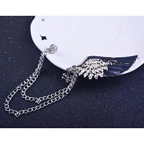 JTXZD Brosche Zeitlich begrenzte Trendige Brosche s 'Broschen Hot Shirt Angel Wings Quaste Brosche Kragen männliche Persönlichkeit Kette Pin