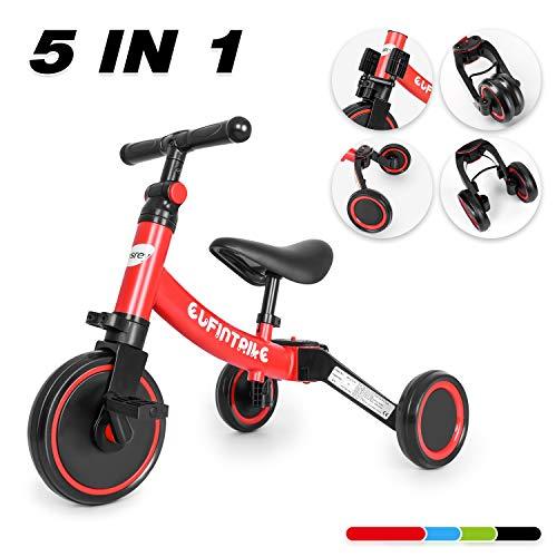 besrey 5 in 1 Laufräder Laufrad Kinderdreirad Dreirad Lauffahrrad Lauflernhilfe für Kinder ab 1 Jahre bis 5 Jahren - Rot