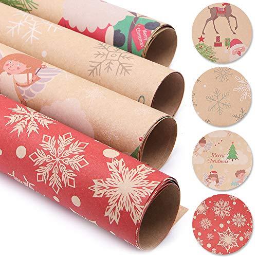 Papel de regalo de 20 hojas, papel de regalo de Santa, papel de regalo de Navidad Kraft - Santa, ángel, calcetín de Navidad, copo de nieve (70 x 50 cm,Patrón aleatorio)