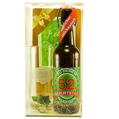 Bier Geschenk zum 52.Geburtstag Geburtstagsgeschenk zweiundfünfzigster Geburtstag Bier Geschenkset zum 52. Geburtstag