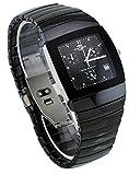 Oniss #ON338-M Men's Square Black Ceramic Chronograph Watch