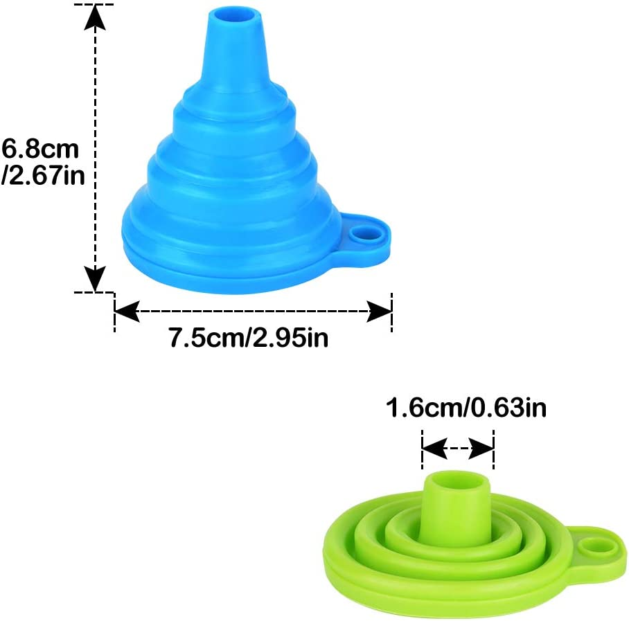 Embudo Plegable de Silicona 3 Paquetes Embudo de Silicona Embudos de Cocina Flexible para la Cocina l/íquido Transferencia Botella de Agua