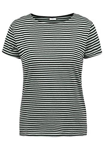 ONLY AVA Damen T-Shirt Kurzarm Streifenshirt Shirt Mit Rundhalsausschnitt, Größe:L, Farbe:Gray Mist/Black Stripes