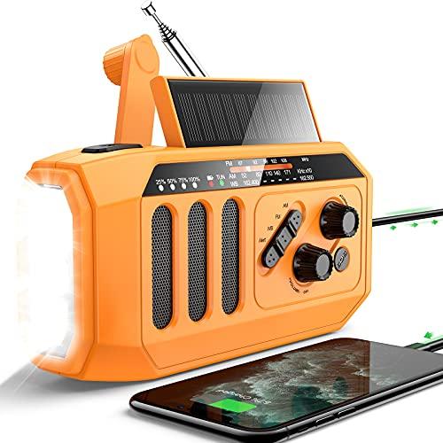 DBSOARS Emergency Weather Radio, 5000mAh Power Bank USB Charger for Cellphone, Hand Crank Solar Radio Bright Flashlight/Reading Lamp, NOAA/AM/FM Portable Radio, Indoor and Outdoor, SOS Alarm