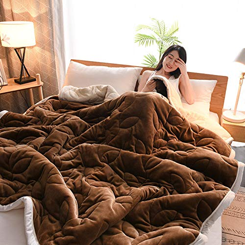 ZKbed Plus Samt-Decke aus Flanell, für den Winter, gesteppt, 3-lagig, für Studenten, Doppelschicht, 150 x 200 cm, Kaffeebraun